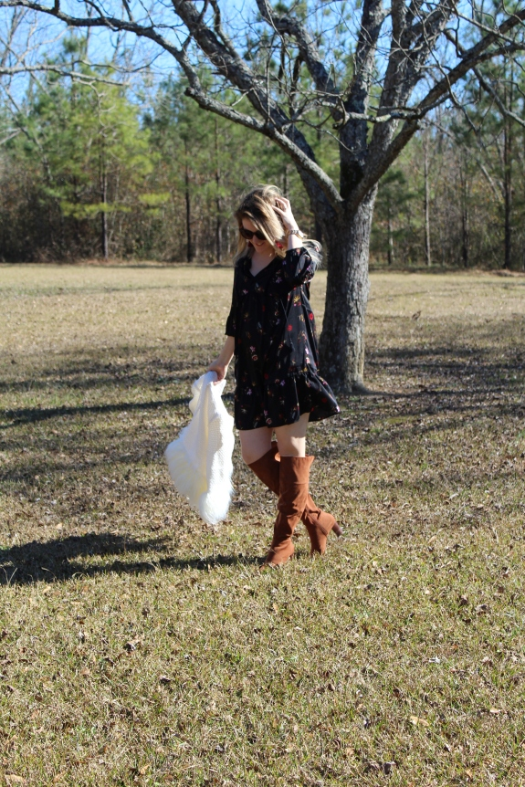Savannah, Georgia Life and Style Blogger, Being Mrs. Fowler, Styles an Old Navy Floral Dress with a Shein Fur Blazer, while preparing for retirement with Benedetti, Gucer, and Associates, mom style, spring outfit, fall outfit, budget friendly