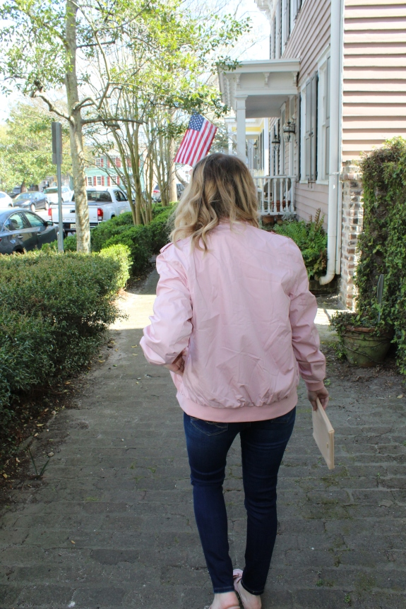 Savannah Mom Blogger, Being Mrs. Fowler, styles a Members Only Jacket, mom style, teacher style, modest style, casual outfit