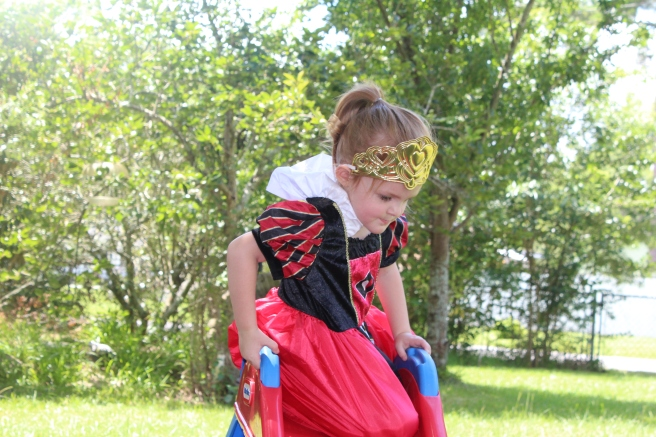 Savannah Blogger, Being Mrs. Fowler, shares tips on child care options in Georgia with Quality Rated, Bright from the Start, GEEARS, while daughter wears Little Adventure's Dress Up, Queen of Hearts Dress